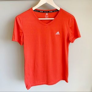 Adidas Climalite Red Athletic Short Sleeve Tee